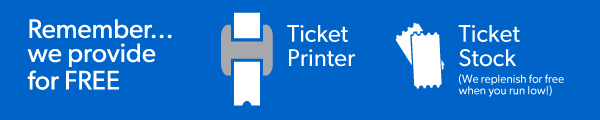 display of included printer and ticket stock