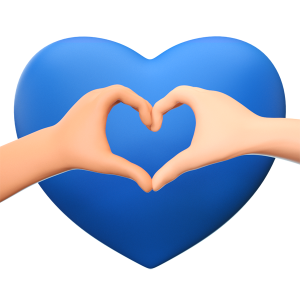 symbol of heart behind two hands forming a heart